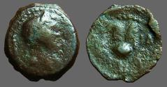 Ancient Coins - Trajan AE11 Chalkon. Head of Trajan right / Crown of Isis