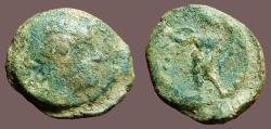 Ancient Coins - Spain, Corduba AE19 Semis. Bust of Venus / Winged Eros w. torch & cornucopia