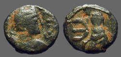 Ancient Coins - Justin I AE pentanummium, Tyche on Antioch seated in shrine