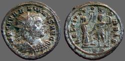 Ancient Coins - Aurelian silvered antoninianus   Victory holds wreath over emperor