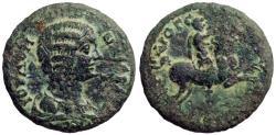 Ancient Coins - Julia Domna AE27 Hadrianothera, Mysia.  Emperor on horseback