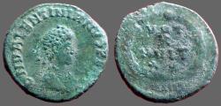 Ancient Coins - Valentinian II AE4 Vows in wreath.  VOT/X/MVLT/XX.  Antioch