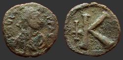 Ancient Coins - Byzantine imitative AE18 1/2 Follis.  K & upside down cross.