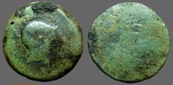 Ancient Coins - Spain, Carmo AE35 Hd of Mercury wearing petasus / 'CARMO' between two grain ears.
