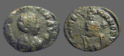 Ancient Coins - Eudoxia AE3 Eudoxia seated, facing, on a throne, GLORIA ROMANORVM.