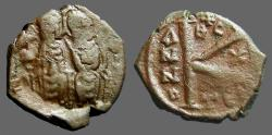Ancient Coins - Justin II & Sophia AE1/2 follis, Thessalonica, Theta+C var