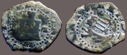 World Coins - Spain Philip II AE21 2 Maravedia.  Castle / Lion  IIII countermark