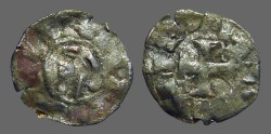 World Coins - Alfonso I 17mm billon denaro. bust left / Cross w. stars.