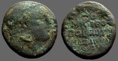 Ancient Coins - Tyre, Phoenicia AE23 Melqart / text in wreath, club