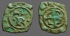 World Coins - Sicily, Manfred von Hohenstaufen, AE15 Denaro. Rare.  Messina