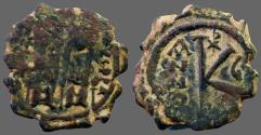 Ancient Coins - Justin II & Sophia AE24 1/2 Follis.  Christogram
