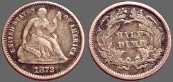 Us Coins - United States 1/2 dime 1872. Seated Liberty