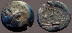 Ancient Coins - Phoenicia, Arados AE17 Turreted bust of Tyche / Galley Prow with fighting Athena