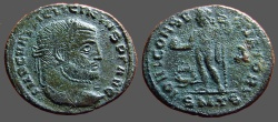 Ancient Coins - Licinius I AE22 Follis Jupiter stg. holds Victory Thessalonica