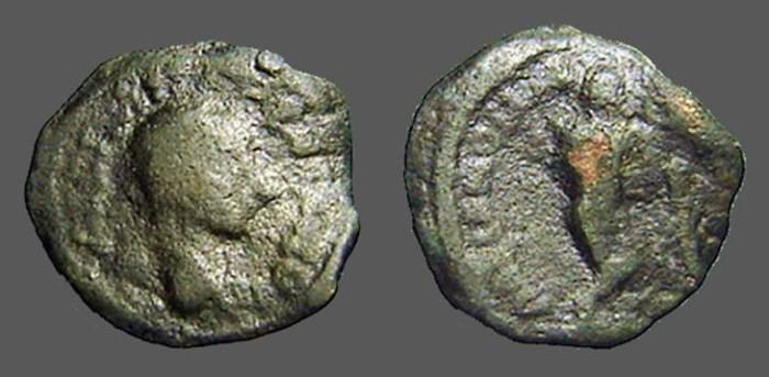 Ancient Coins - Gordian III AE17 Maricanopolis, M.I.  Thanatos leaning on staff
