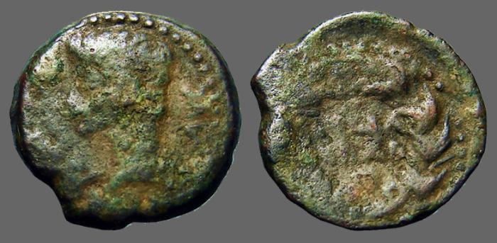 Ancient Coins - Augustus AE as.  JVLIA/TRAD in wreath.  Spain