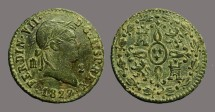 Ancient Coins - Ferdinand VII 1827 AE19. 2 Maravedis.  Castille & Leon