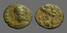 Ancient Coins - Arcadius AE3 Constantinopolis seated w. globe & spear.