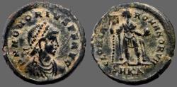 Ancient Coins - Honorius AE21 Follis.  Honorius holds labarum & orb