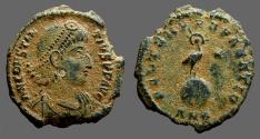 Ancient Coins - Constantius II AE3 Radiate Phoenix on globe. Antioch, Syria