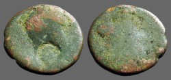 Ancient Coins - Titus AE23, Decapolis, Gadara  / Bust of Herakles, countermark of Herakles