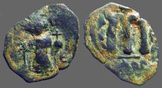 Ancient Coins - Constans II AE22 Follis, SB#1000.   Constans standing with long cross, and globus cruciger.