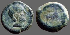 Ancient Coins - Castulo AE23 as. Male hd rt / Bull, crescent above