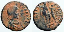 Ancient Coins - Honorius AE3 Victory holds wreath over standing Honorius.  Antioch
