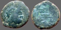 Ancient Coins - Roman Republic AE26 Semis. Saturn / Galley Prow.  Rome