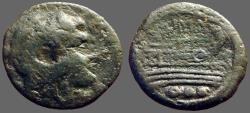 Ancient Coins - Roman Republic AE17 Quadrans.  Herakles in lionskin / Galley Prow