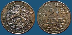 World Coins - Netherlands, Curaco 2 1/2 Cent. 1944