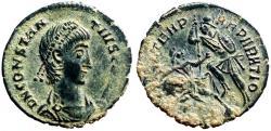 Ancient Coins - Constantius II AE18 Soldier spearing fallen horseman left.