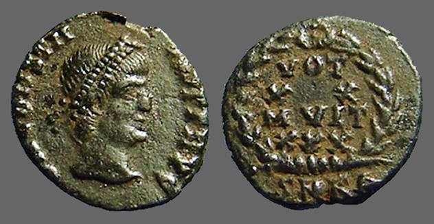 Ancient Coins - Constans AE3 Vows in wreath. VOT/XV/MVLT/XX