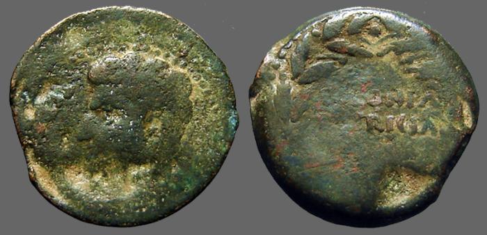 Ancient Coins - Augustus AE as  COLONIA/PATRICIA in wreath.  Spain