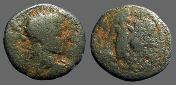 Ancient Coins - Elagabalus AE21 Caesarea. Tyche stg left w. foot on harbor god