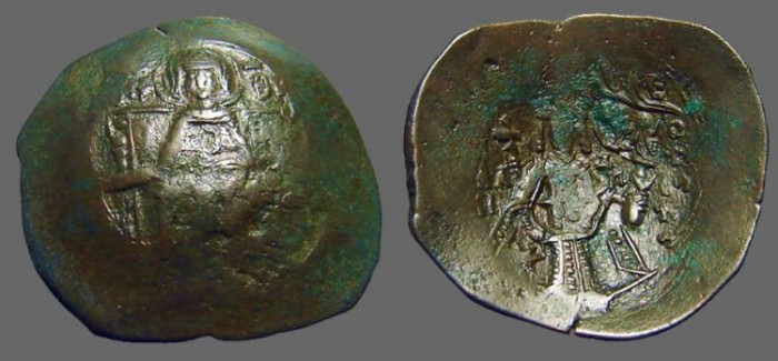 Ancient Coins - Isaac II, Angelus 1185-1195 AD AE28 Aspron Trachy.  Constantinople mint.