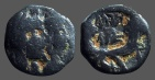 Ancient Coins - Nabataean AE18 jugate busts of Aretas IV & Shuqailat / Crossed Cornucopias, Petra.