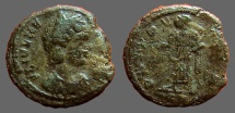 Ancient Coins - Helena AE4.  Pax standing left, PAX PVBLICA,