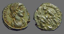 Ancient Coins - Constantius II AE3 Soldier spearing fallen horseman. Turkey.