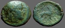 Ancient Coins - Ionia, Miletos AE18 Apollo / Lion standing rt