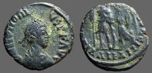 Ancient Coins - Honorius AE3 Victory holds wreath over emperor.  Alexandria, Egypt