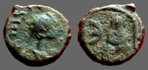Ancient Coins - Justin I AE Pentanummium, Tyche of Antioch in shrine, River God below. Antioch.