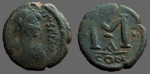 Ancient Coins - Anastasius AE22 small module Follis, Constantinople.  Officiana A
