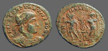 Ancient Coins - Constantine II AE3, Soldiers either side of military standard.