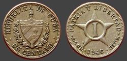 World Coins - Cuba AR 1 Cent  Coat of Arms / 5 point star.  1946
