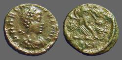 Ancient Coins - Arcadius AE4 Victory dragging captive left.  Antioch, Turkey.