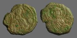 Ancient Coins - Manuel I AE Tetarteron. Bust of St. George / Facing bust of Manuel I