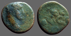 Ancient Coins - Antoninus Pius AE22 as of Antioch on Orontes.  SC in wreath