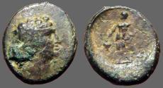 Ancient Coins - Maroneia, Thrace AE17 Dionysos / Dionysos stg w. grapes & narthex