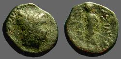 Ancient Coins - Antiochus III AE12 Hd of Apollo / Apollo standing left, holds arrow and bow.